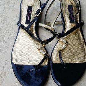 Black patent jewled sandals sz 10 M